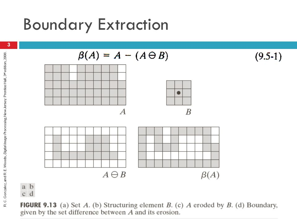 R. C. Gonzalez, and R. E. Woods, Digital Image Processing, New Jersey: Prentice Hall, 3 rd edition, 2008. Boundary Extraction 3