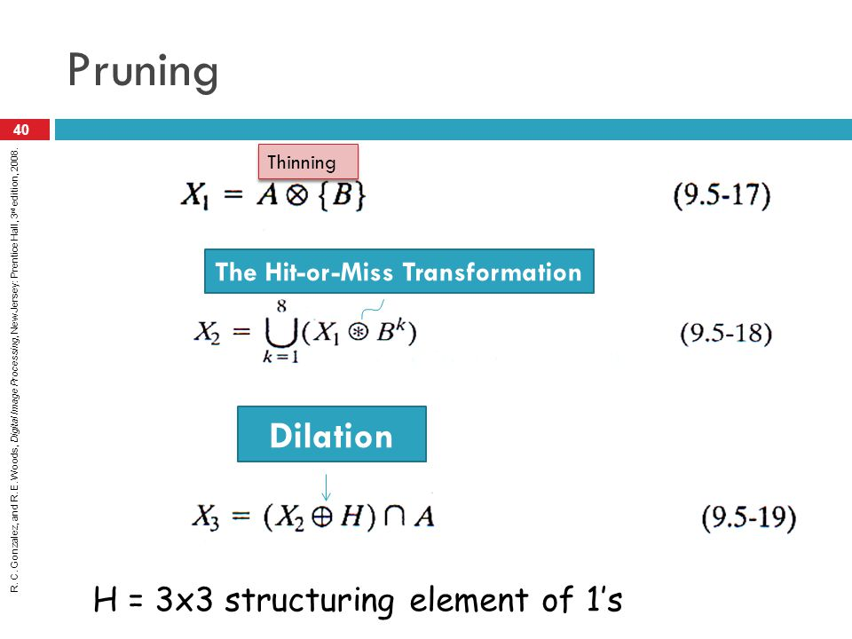 R. C. Gonzalez, and R. E. Woods, Digital Image Processing, New Jersey: Prentice Hall, 3 rd edition, 2008. Pruning 40 Thinning The Hit-or-Miss Transfor