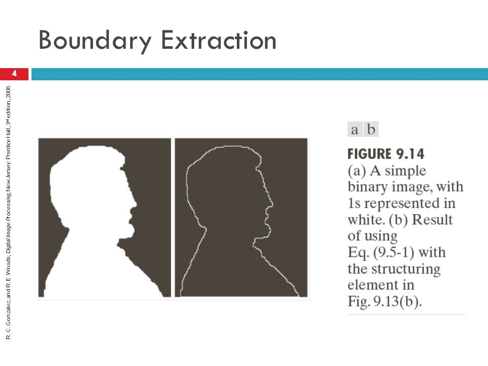 R. C. Gonzalez, and R. E. Woods, Digital Image Processing, New Jersey: Prentice Hall, 3 rd edition, 2008. Boundary Extraction 4