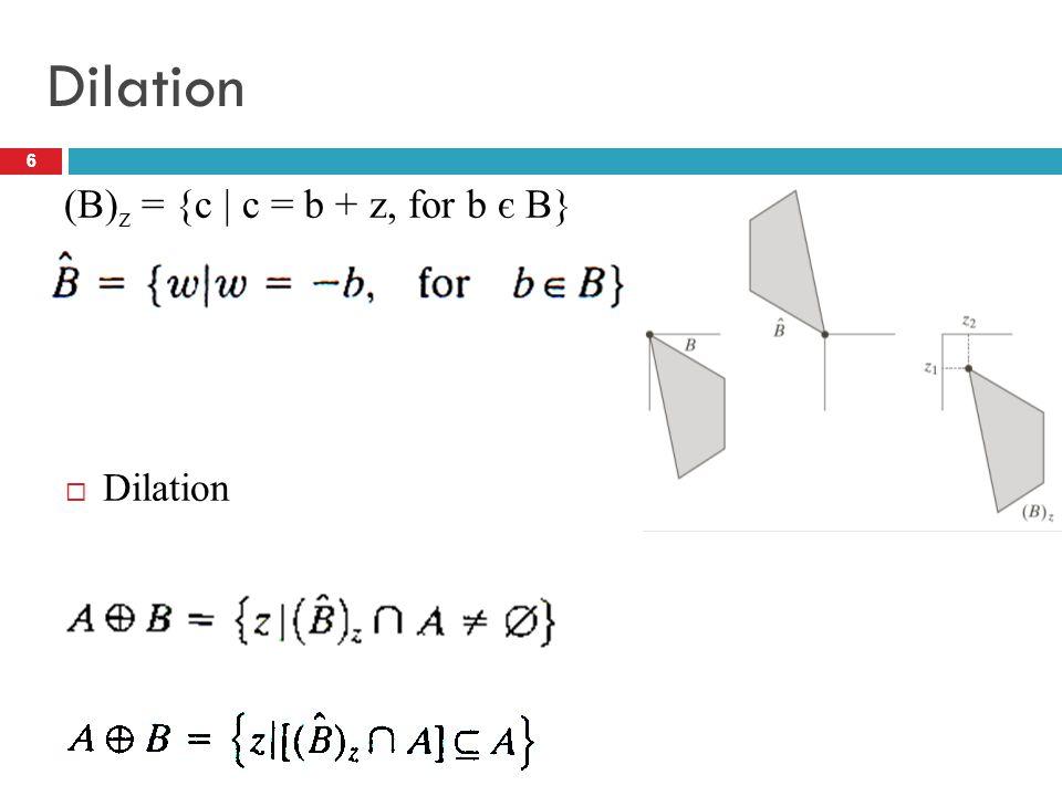 6 Dilation 6  Dilation (B) z = {c   c = b + z, for b є B}