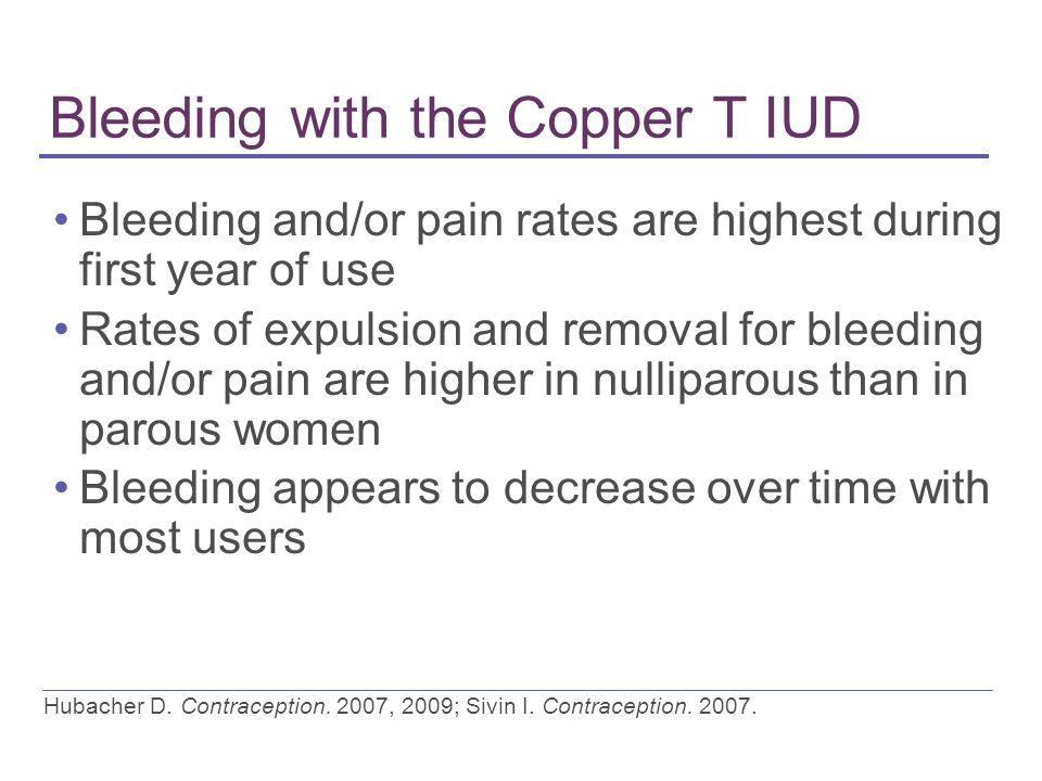 Bleeding with the Copper T IUD Bleeding and/or pain rates are highest during first year of use Rates of expulsion and removal for bleeding and/or pain are higher in nulliparous than in parous women Bleeding appears to decrease over time with most users Hubacher D.