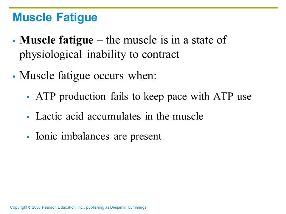 Copyright © 2006 Pearson Education, Inc., publishing as Benjamin Cummings Muscle Fatigue  Muscle fatigue – the muscle is in a state of physiological inability to contract  Muscle fatigue occurs when:  ATP production fails to keep pace with ATP use  Lactic acid accumulates in the muscle  Ionic imbalances are present