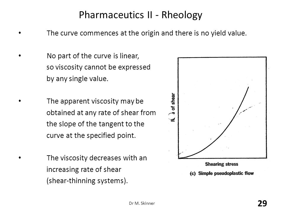 Pharmaceutics II - Rheology The curve commences at the origin and there is no yield value. No part of the curve is linear, so viscosity cannot be expr