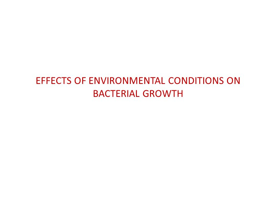 EFFECTS OF ENVIRONMENTAL CONDITIONS ON BACTERIAL GROWTH