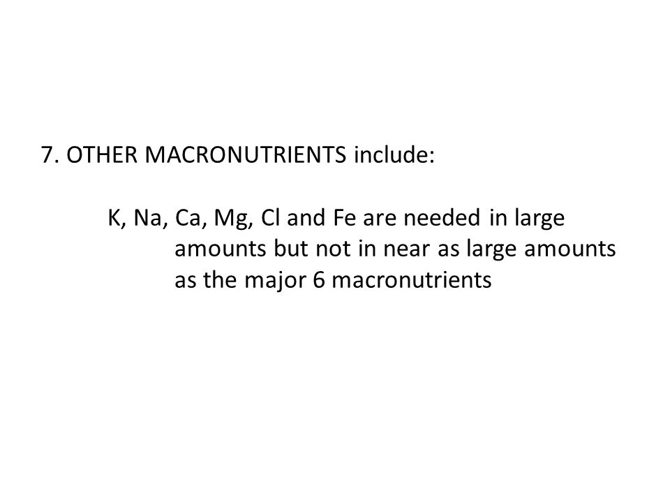 7. OTHER MACRONUTRIENTS include: K, Na, Ca, Mg, Cl and Fe are needed in large amounts but not in near as large amounts as the major 6 macronutrients
