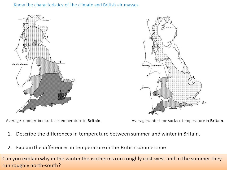Know the characteristics of the climate and British air masses Average summertime surface temperature in Britain.Average wintertime surface temperature in Britain.