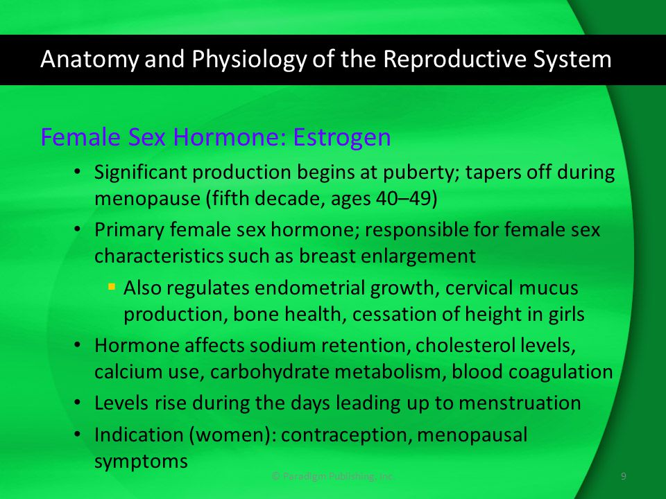 Anatomy and Physiology of the Reproductive System Female Sex Hormone: Progesterone Referred to as progestin when produced in the body Hormone suppresses LH production, thickens cervical mucus, alters the endometrial lining to support embryo implantation, maintains pregnancy Progesterone levels  Affect insulin levels, glucose tolerance, fat deposition, body temperature; changes needed for pregnancy  Rise in pregnancy; decline in menopause Indications (women): contraception, infertility, menopausal symptoms 10© Paradigm Publishing, Inc.