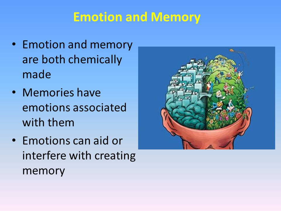 Emotion and memory are both chemically made Memories have emotions associated with them Emotions can aid or interfere with creating memory Emotion and