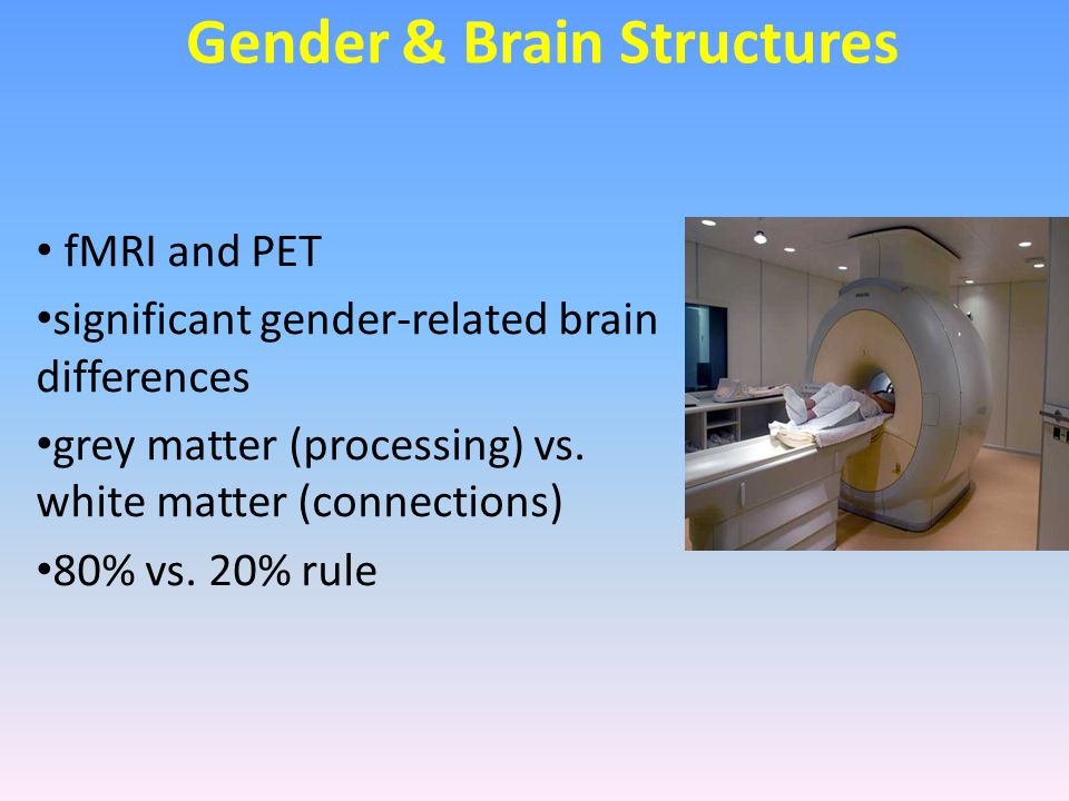 Gender & Brain Structures fMRI and PET significant gender-related brain differences grey matter (processing) vs. white matter (connections) 80% vs. 20