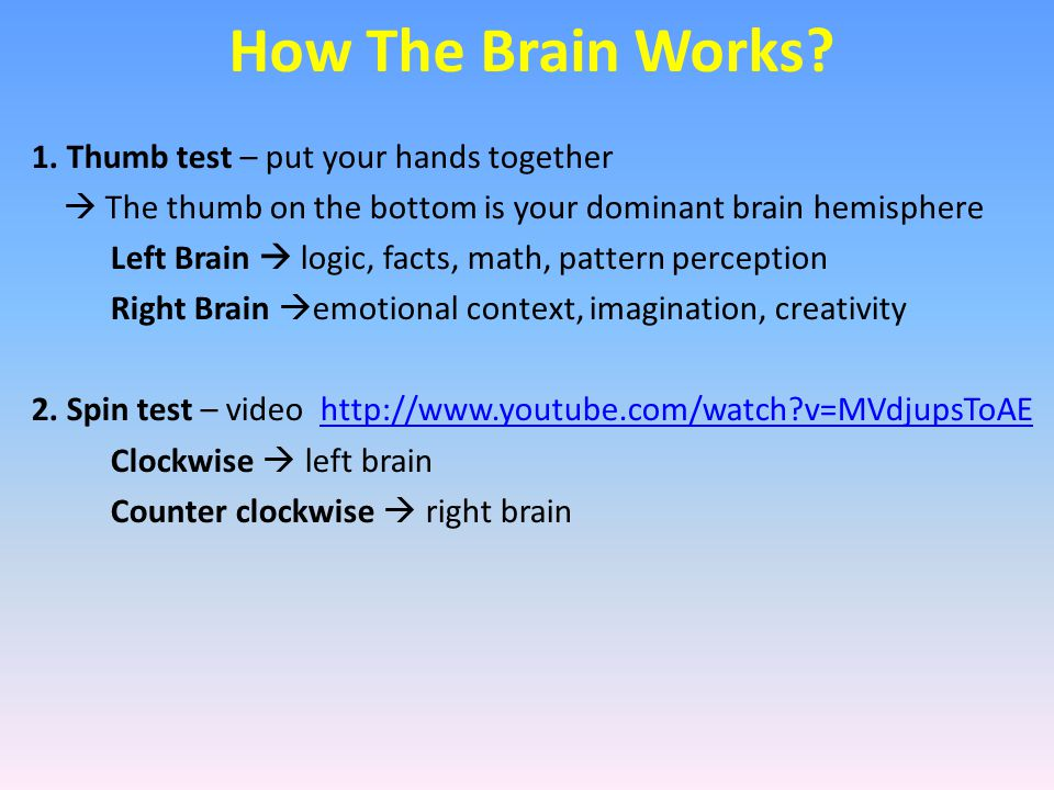 How The Brain Works? 1. Thumb test – put your hands together  The thumb on the bottom is your dominant brain hemisphere Left Brain  logic, facts, ma