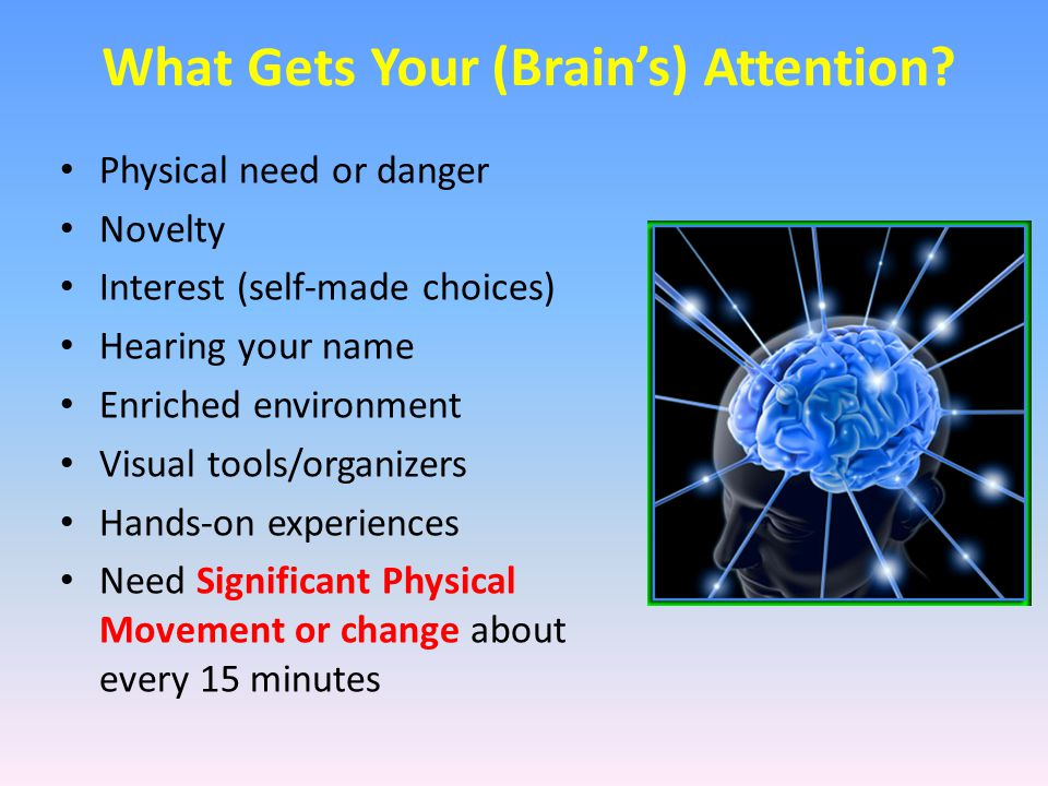 What Gets Your (Brain's) Attention? Physical need or danger Novelty Interest (self-made choices) Hearing your name Enriched environment Visual tools/o