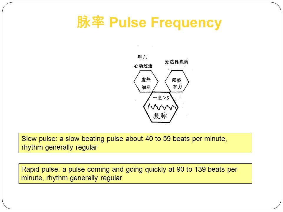Floating pulse: located on the surface, can be felt by light touch, growing faint on pressing hard, but offering no sense of emptiness, wood floating on the water Deep pulse: deeply located, can hardly be felt by light touch, palpable by moderate force, distinct only by heavy pressing 脉位 Pulse Location