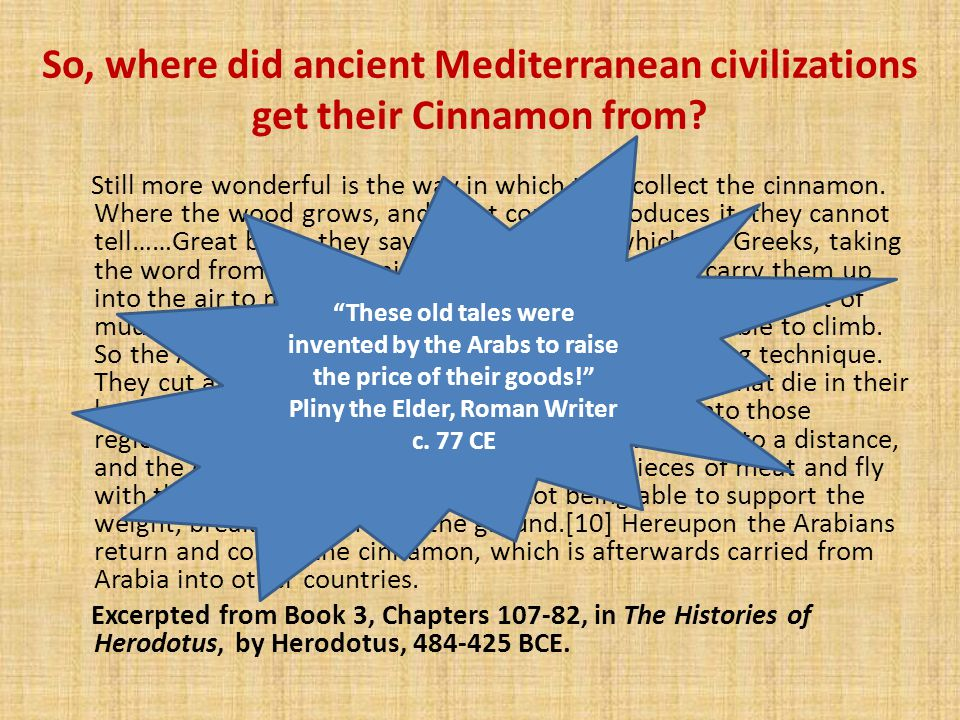 So, where did ancient Mediterranean civilizations get their Cinnamon from.