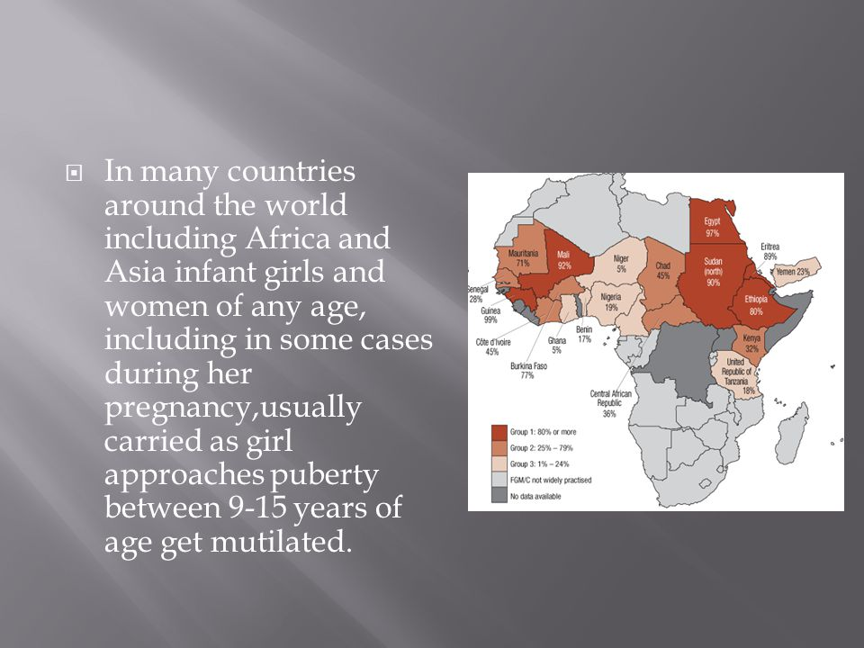  In many countries around the world including Africa and Asia infant girls and women of any age, including in some cases during her pregnancy,usually