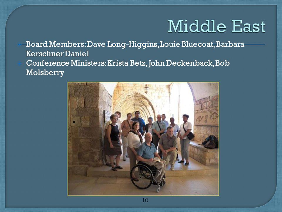 10  Board Members: Dave Long-Higgins, Louie Bluecoat, Barbara Kerschner Daniel  Conference Ministers: Krista Betz, John Deckenback, Bob Molsberry