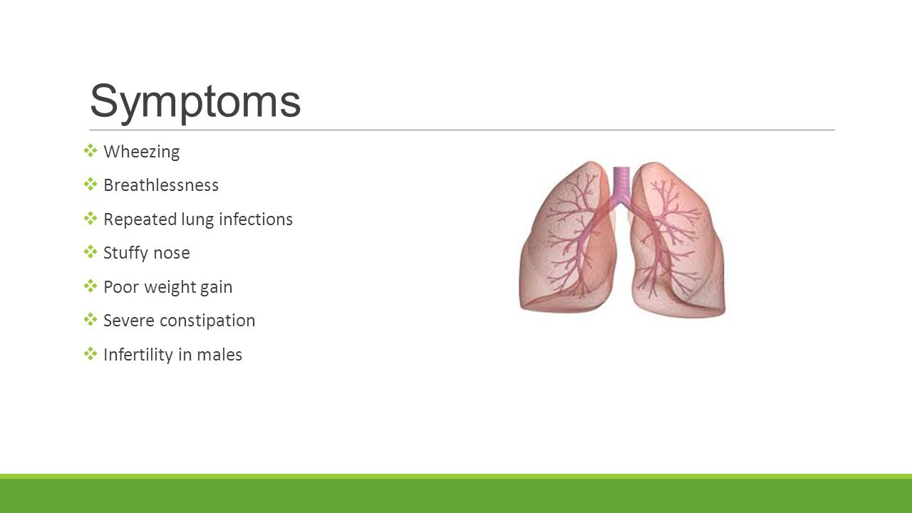 Symptoms  Wheezing  Breathlessness  Repeated lung infections  Stuffy nose  Poor weight gain  Severe constipation  Infertility in males