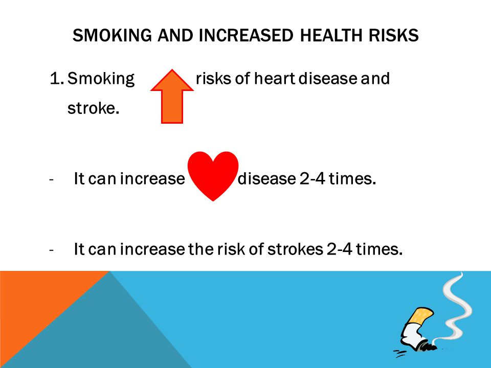 SMOKING AND INCREASED HEALTH RISKS 1.Smoking risks of heart disease and stroke.