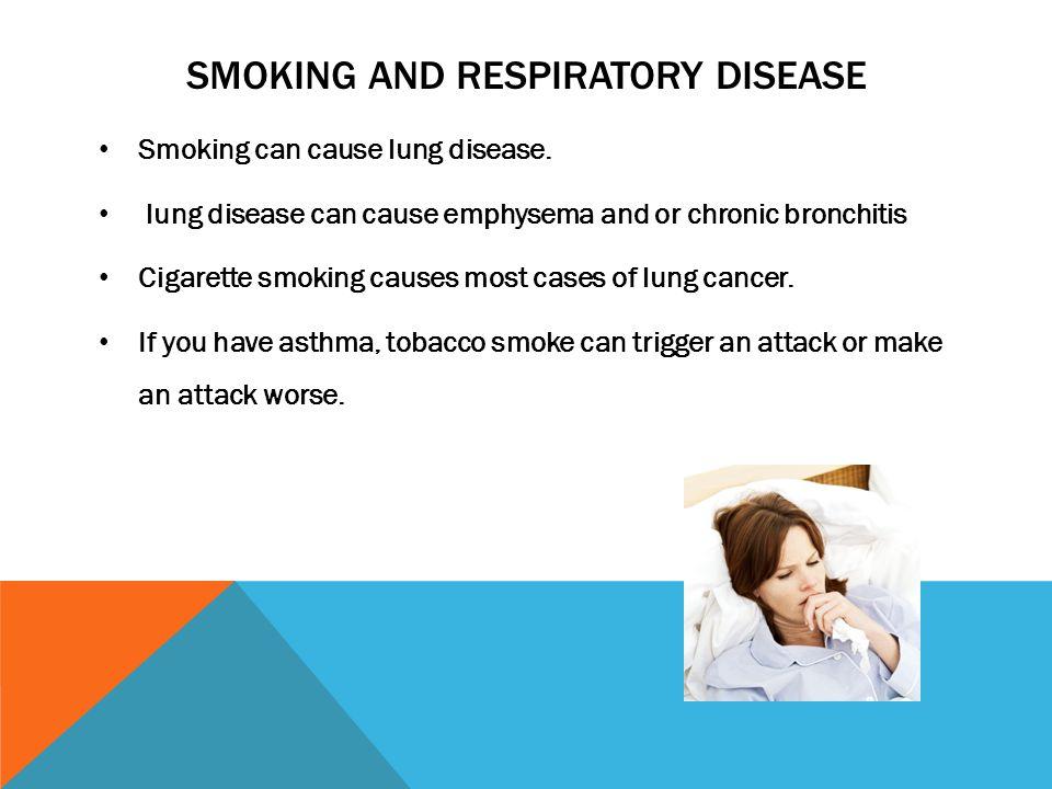 SMOKING AND RESPIRATORY DISEASE Smoking can cause lung disease.