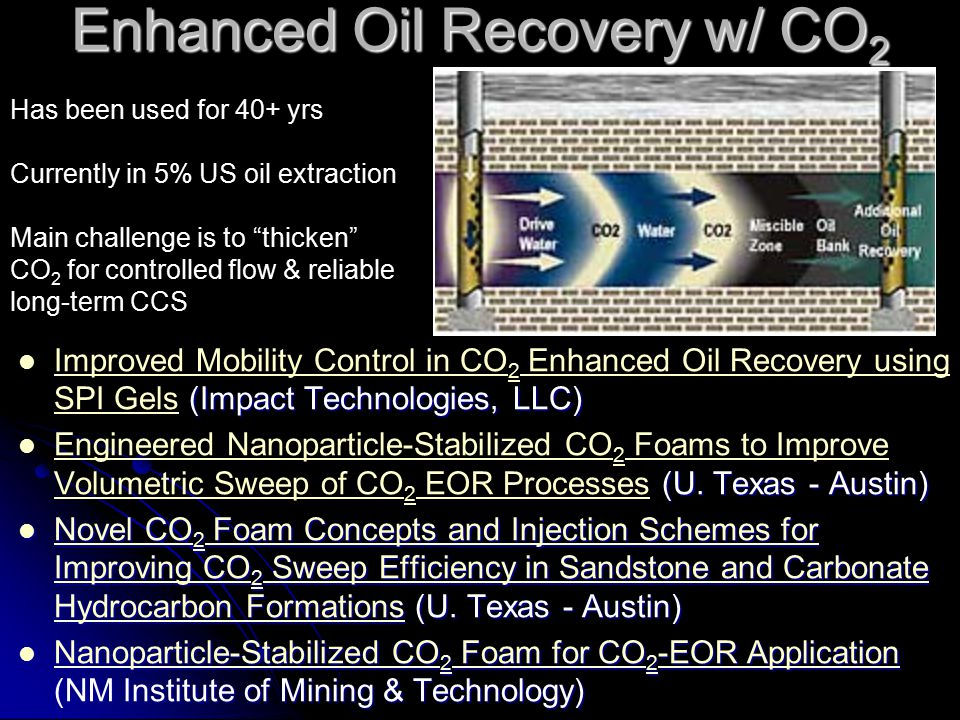 Enhanced Oil Recovery w/ CO 2 (Impact Technologies, LLC) Improved Mobility Control in CO 2 Enhanced Oil Recovery using SPI Gels (Impact Technologies,