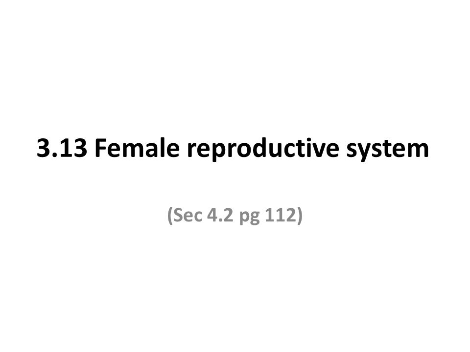3.13 Female reproductive system (Sec 4.2 pg 112)