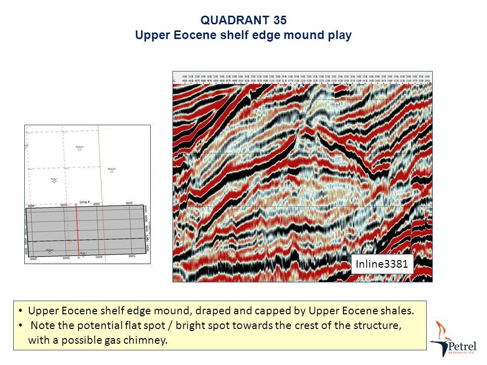 Inline3381 QUADRANT 35 Upper Eocene shelf edge mound play Upper Eocene shelf edge mound, draped and capped by Upper Eocene shales.
