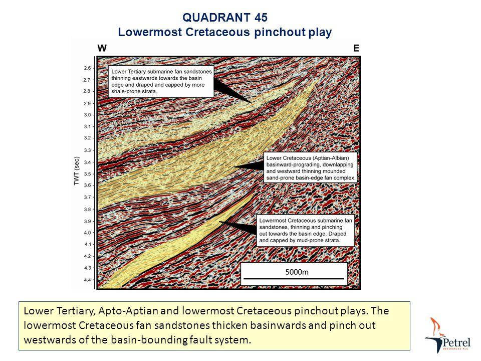 QUADRANT 45 Lowermost Cretaceous pinchout play Lower Tertiary, Apto-Aptian and lowermost Cretaceous pinchout plays.