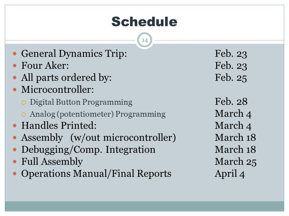Schedule 14 General Dynamics Trip:Feb. 23 Four Aker:Feb.