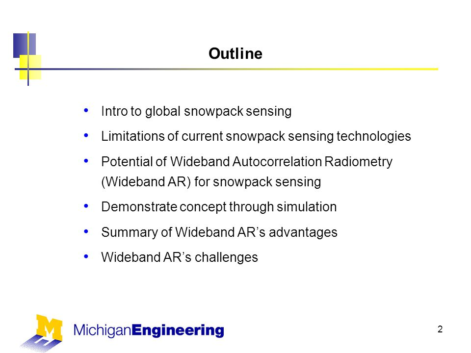 Outline Intro to global snowpack sensing Limitations of current snowpack sensing technologies Potential of Wideband Autocorrelation Radiometry (Wideband AR) for snowpack sensing Demonstrate concept through simulation Summary of Wideband AR's advantages Wideband AR's challenges 2