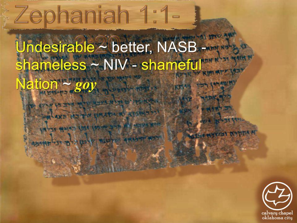 Undesirable ~ better, NASB - shameless ~ NIV - shameful Nation ~ goy