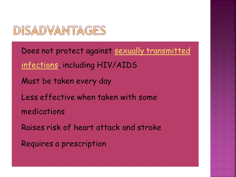  Does not protect against sexually transmitted infections, including HIV/AIDSsexually transmitted infections  Must be taken every day  Less effecti