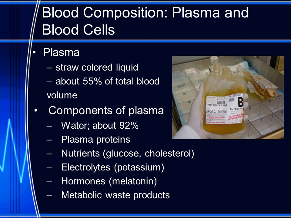 Blood Composition: Plasma and Blood Cells Plasma –straw colored liquid –about 55% of total blood volume Components of plasma –Water; about 92% –Plasma