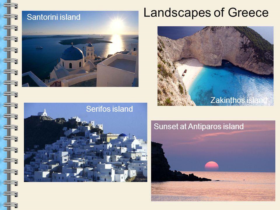 Landscapes of Greece Santorini island Zakinthos island Serifos island Sunset at Antiparos island