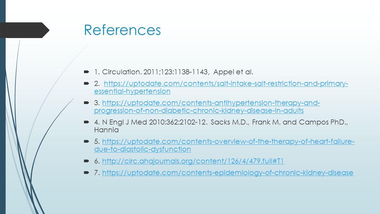 References  1. Circulation. 2011;123:1138-1143, Appel et al.