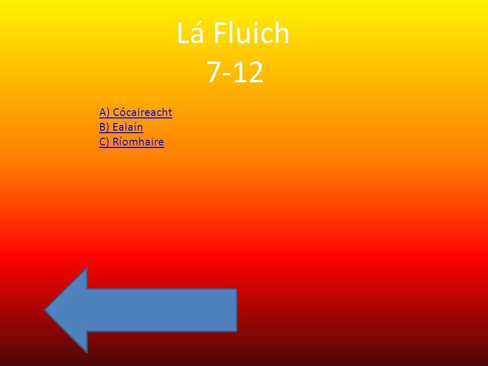 Lá Fluich 7-12 A) Cócaireacht B) Ealaín C) Ríomhaire