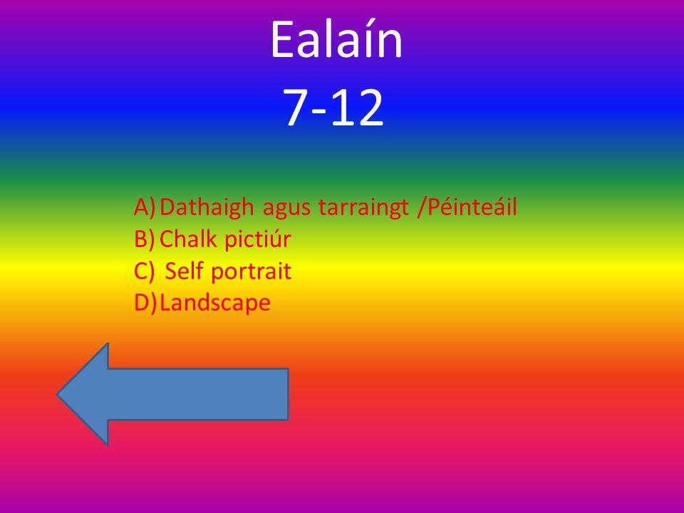 Ealaín 7-12 A)Dathaigh agus tarraingt /Péinteáil B)Chalk pictiúr C) Self portrait D)Landscape