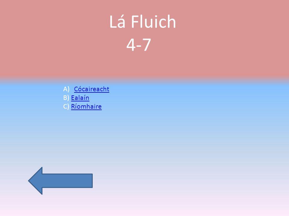 Lá Fluich 4-7 A)CócaireachtCócaireacht B) EalaínEalaín C) RíomhaireRíomhaire