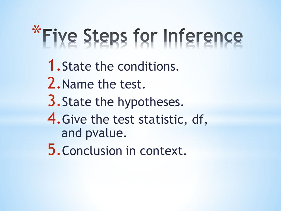 1. State the conditions. 2. Name the test. 3. State the hypotheses. 4. Give the test statistic, df, and pvalue. 5. Conclusion in context.