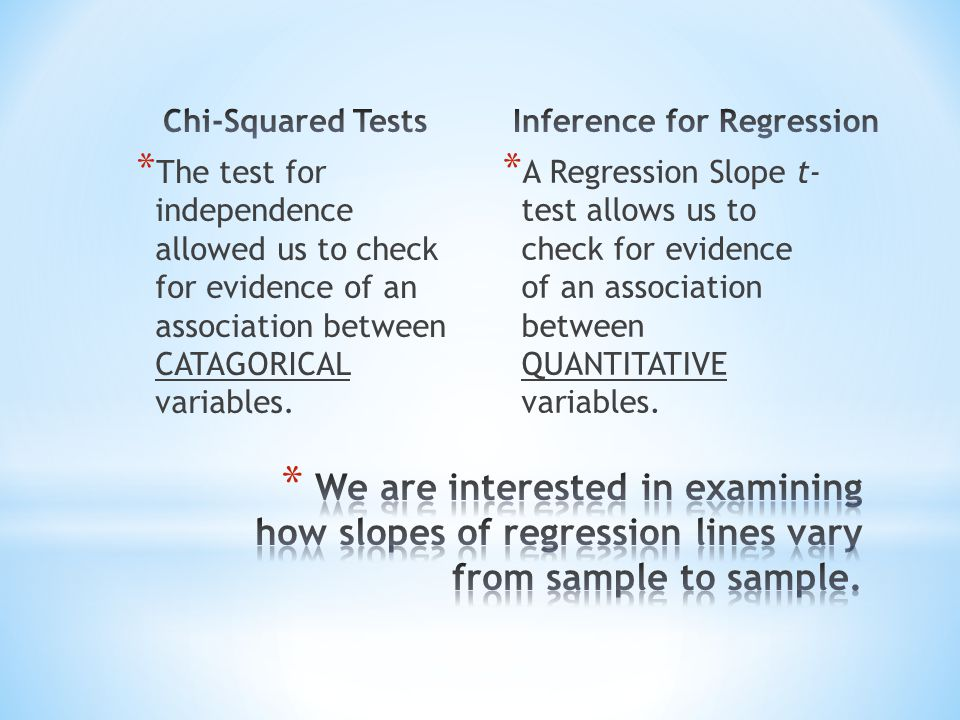 * The test for independence allowed us to check for evidence of an association between CATAGORICAL variables. * A Regression Slope t- test allows us t