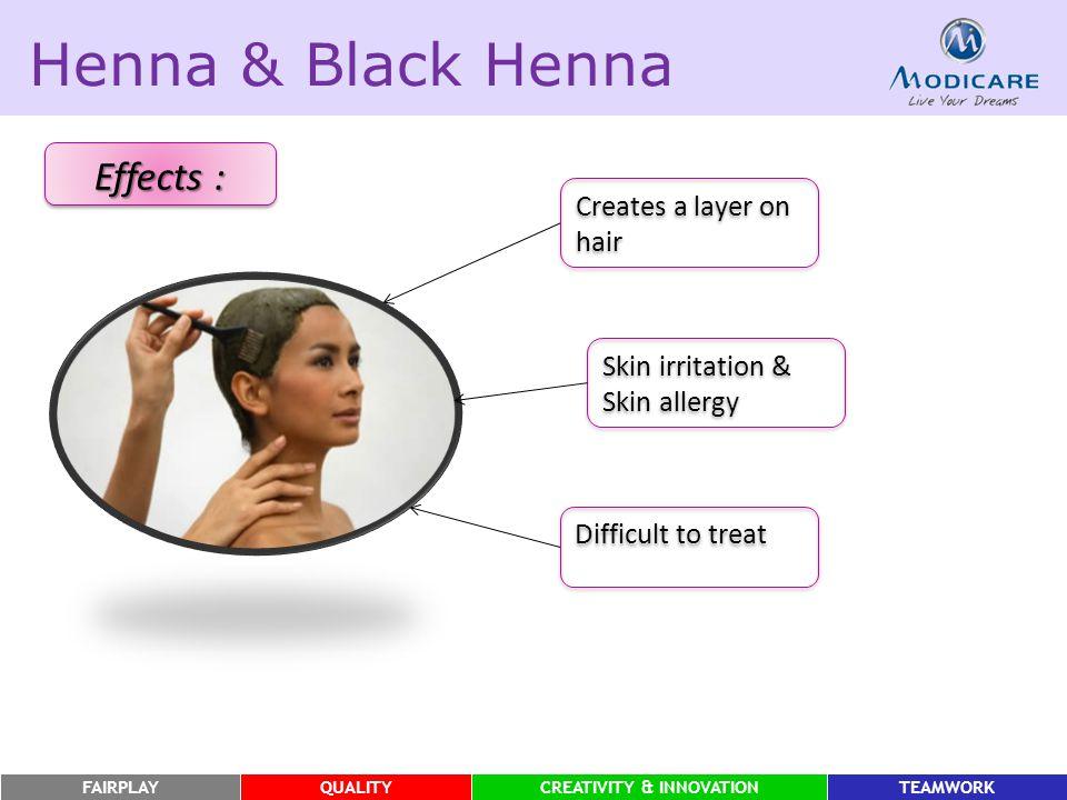 FAIRPLAYQUALITYCREATIVITY & INNOVATIONTEAMWORK Henna & Black Henna Effects : Skin irritation & Skin allergy Creates a layer on hair Difficult to treat
