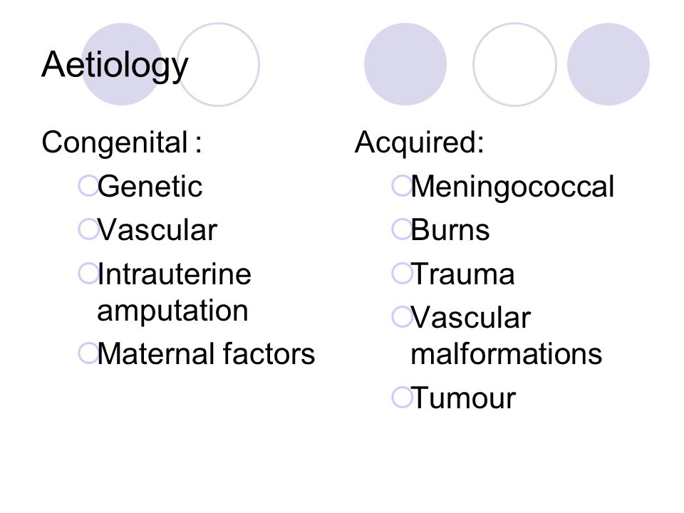Aetiology Congenital :  Genetic  Vascular  Intrauterine amputation  Maternal factors Acquired:  Meningococcal  Burns  Trauma  Vascular malform