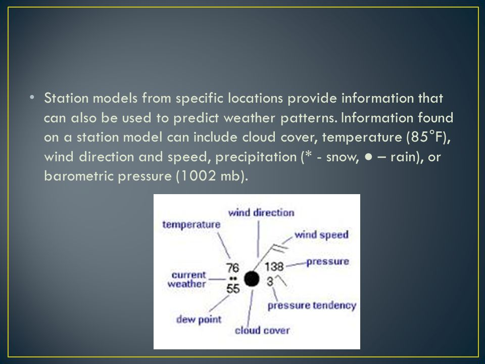 Station models from specific locations provide information that can also be used to predict weather patterns. Information found on a station model can