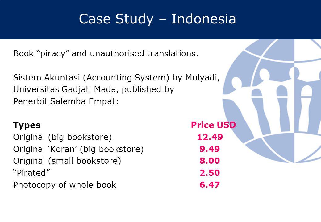 "Case Study – Indonesia Book ""piracy"" and unauthorised translations. Sistem Akuntasi (Accounting System) by Mulyadi, Universitas Gadjah Mada, published"