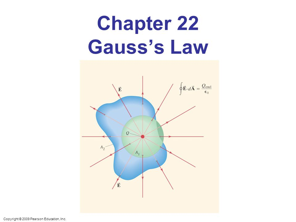 Copyright © 2009 Pearson Education, Inc. Chapter 22 Gauss's Law