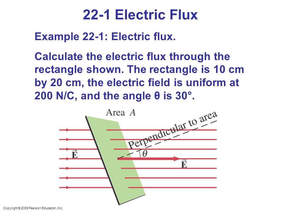 Copyright © 2009 Pearson Education, Inc. 22-1 Electric Flux Example 22-1: Electric flux. Calculate the electric flux through the rectangle shown. The