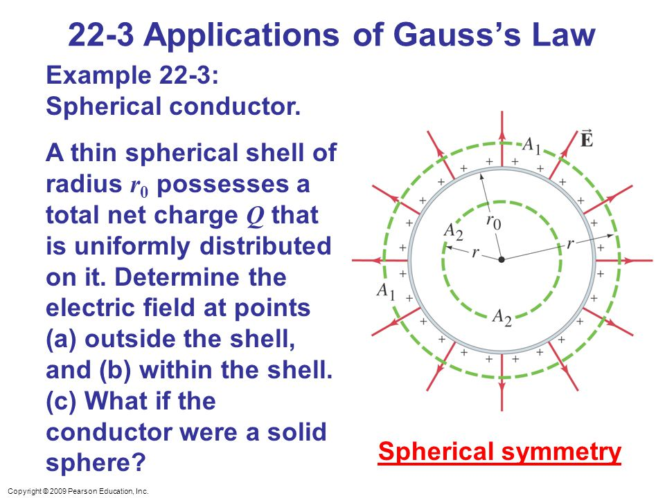 Copyright © 2009 Pearson Education, Inc. 22-3 Applications of Gauss's Law Example 22-3: Spherical conductor. A thin spherical shell of radius r 0 poss