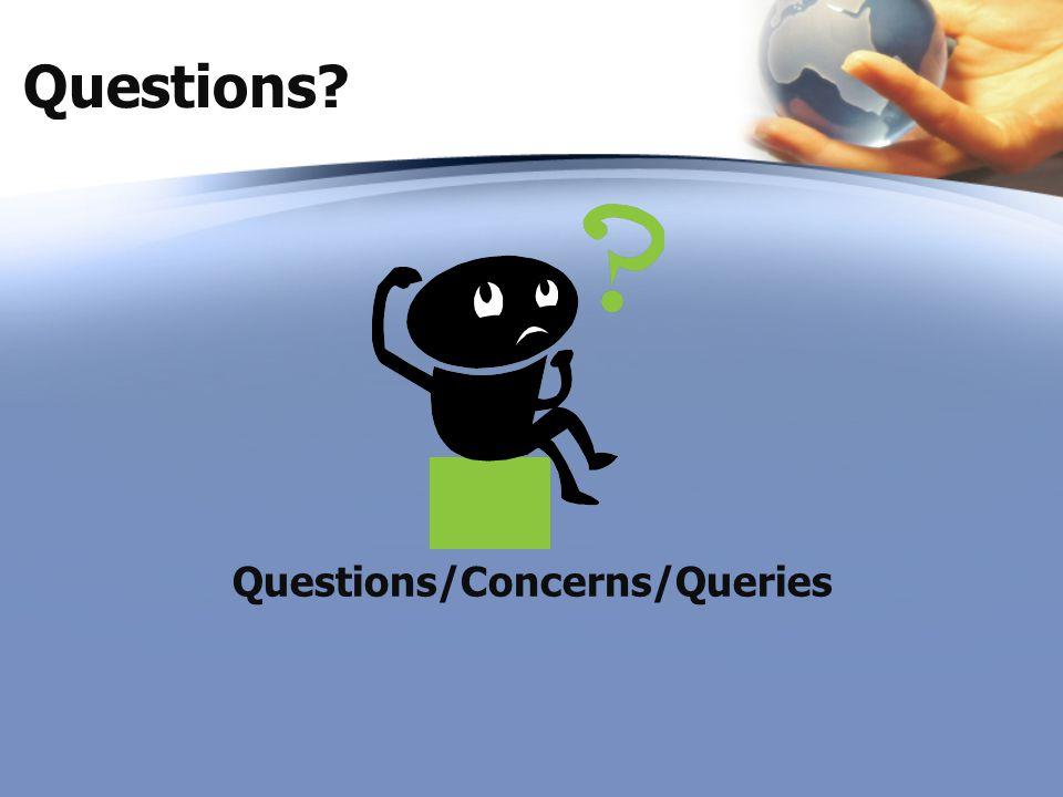 Questions? Questions/Concerns/Queries
