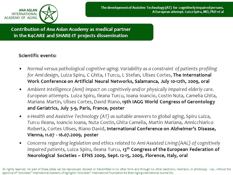 Scientific events: Normal versus pathological cognitive aging.