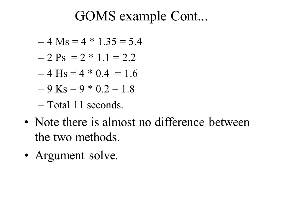 GOMS example Cont...