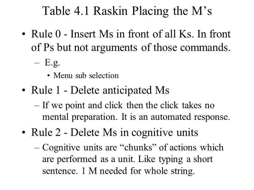 Table 4.1 Raskin Placing the M's Rule 0 - Insert Ms in front of all Ks.