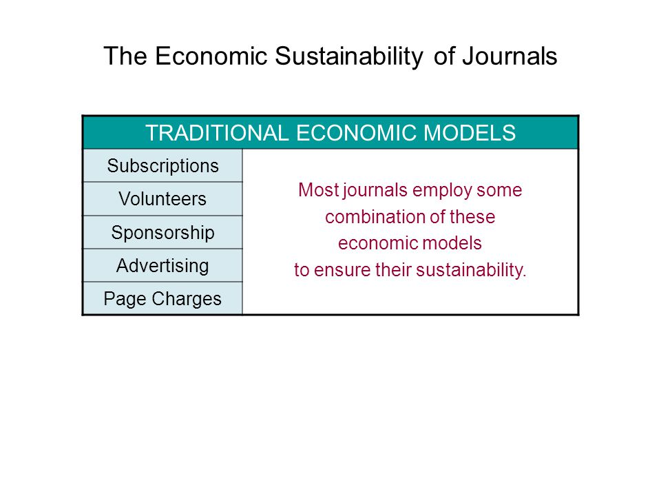 The Economic Sustainability of Journals Online Management Traditional Economic Models Enhanced Quality Improved Economies } What it all adds up to…